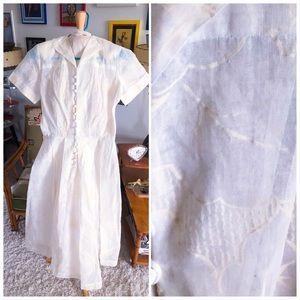 Vintage 1940s Dress sheer floral shirtwaist 40s